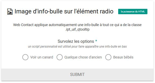 Image d'info-bulle sur l'élément radio